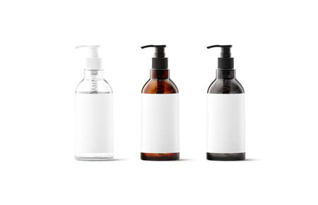 Blank transparent, amber, black glass bottle with white label mockup 版權商用圖片
