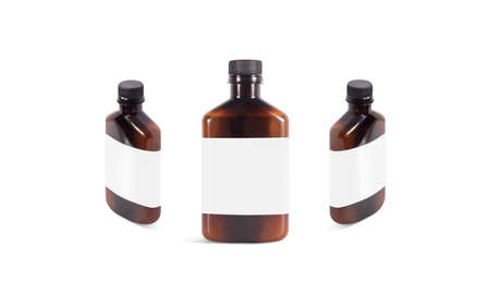 Blank amber plastic bottle with white label mockup, front and side view. Empty brown vial with natural oil or emulsion mock up, isolated. Clear transparent botle for face treat mokcup template.