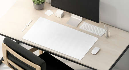 Blank white desk mat on work table mockup, side view Archivio Fotografico - 140020474