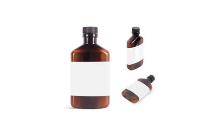 Blank amber plastic bottle with white label mockup set, different sides. Empty emulsion or tonic flask with sticker mock up, isolated. Clear brown vial for disinfect face gel mokcup template.