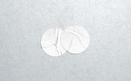 Blank two white round adhesive sticker mock up textured wall, 3d rendering
