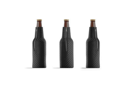 Blank black collapsible beer bottle koozie mock up, isolated Stock fotó