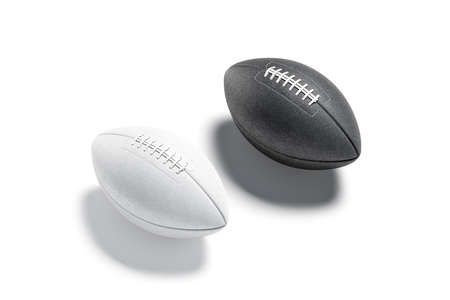 Blank white american soccer ball mockup set, side view Imagens