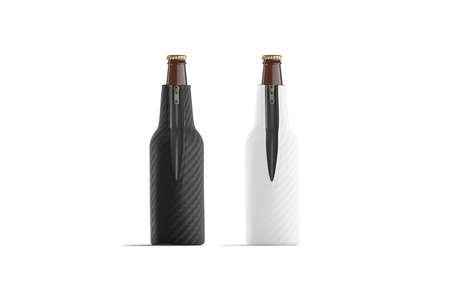 Blank black and white collapsible beer bottle koozie mockup, isolated