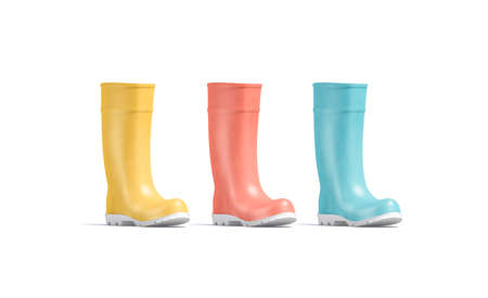 Blank colored rubber wellington boots mockup, half-turned view, 3d rendering. Empty yellow, red and blue autumn waterproof shoes mock up, isolated. Clear protective gumboots mokcup template. Stock Photo