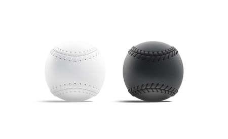 Blank black and white baseball ball with seam mockup, side