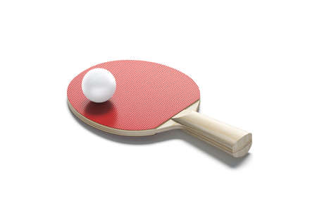 Blank red wood table tennis racket with ball mockup, isolated Stock fotó