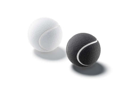 Blank black and white tennis ball mockup set, side view