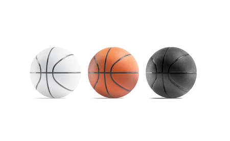 Blank black, white and brown basketball ball mockup, front view