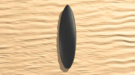 Blank black surfboarf lying on sand mock up, top view