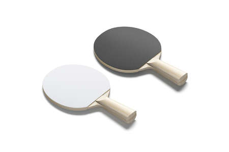 Blank black and white wood table tennis racket mockup, isolated