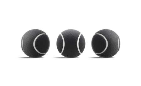 Blank black tennis ball mock up, front and side view