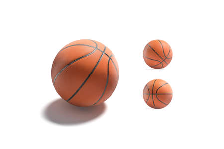 Blank rubber basketball ball mock up, different sides
