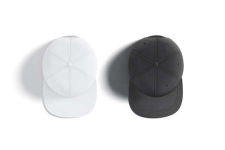 Blank black and white jeans snapback mockup set, top view