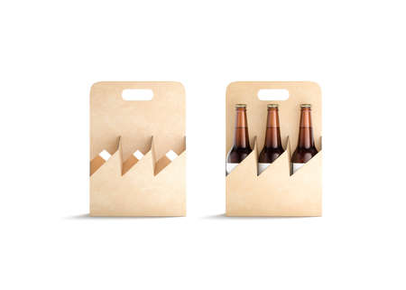 Blank craft glass beer bottle cardboard holder mockup, front view, 3d rendering. Empty take out alchohol tray mock up, isolated. Clear kraft packaging with handle for beverage mokcup template.