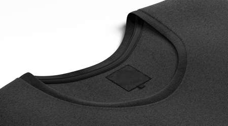 Blank black t-shirt collar with square label mock up, 3d rendering. Empty tee-shirt with size and branding mark mockup, side view. Clear fabric casual clothing with tag mokcup template.