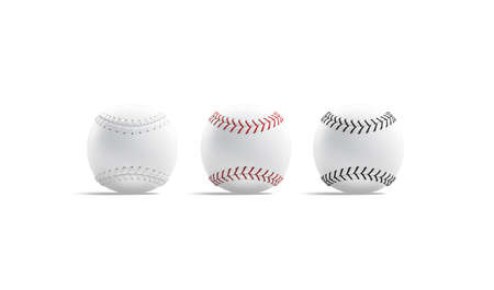 Blank white baseball ball with seam mockup, side view