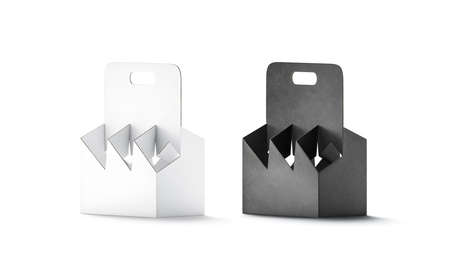 Blank black and white cardboard bottle holder mockup, half-turned view