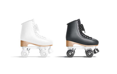 Blank black and white roller skates with wheels mockup, isolated