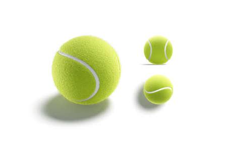 Blank green tennis ball mockup, different views