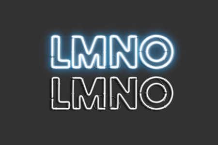 Decorative L M N O letters, neon font mock up