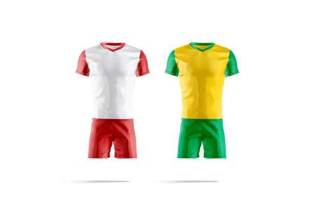 Blank brazil and england team soccer uniform mockup, isolated