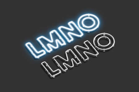 Decorative L M N O letters, neon font mockup Banco de Imagens