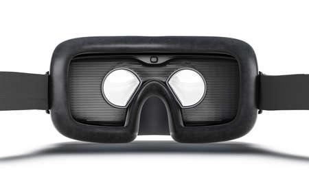 Blank black virtual reality goggles mockup, back view