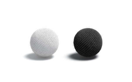 Blank knitted black and white ball mockup set Imagens