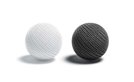 Blank wicker black and white ball mock up set
