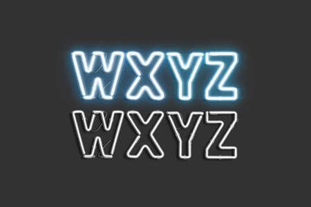 Neon W X Y Z symbols, illuminated font mockup Stock Photo
