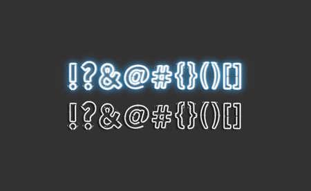 Neon mark symbols set, glowing font mock up