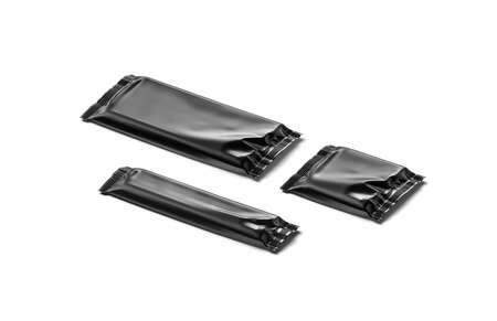 Blank black big, small, square chocolate bar foil wrap mockup