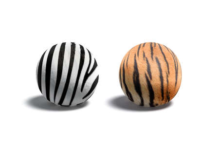 Blank zebra and tiger surface ball mockup set
