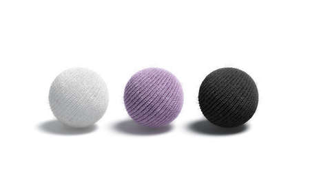 Blank knitted black, white and purple ball mock up set