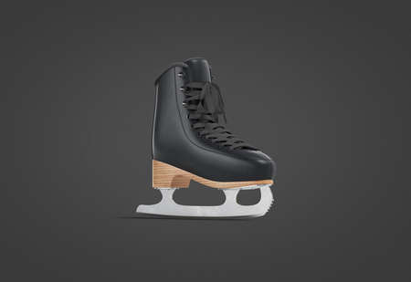 Blank black ice skates with blade mock up, dark background
