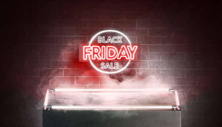 Neon black friday sale sign with glowing pedestal mockup
