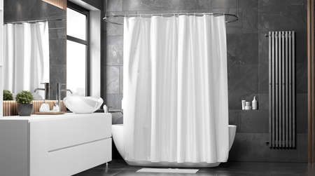 Blank white closed shower curtain mock up, front view 版權商用圖片