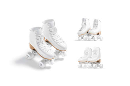 Blank white roller skates with wheels mockup pair, different views