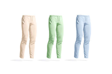 Blank colored sport pants mockup set, side view