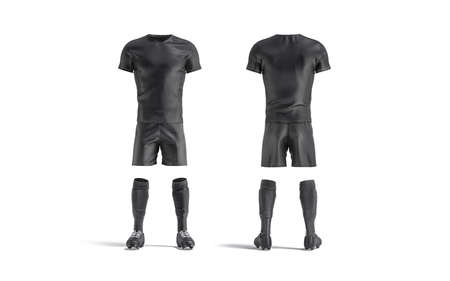 Blank black soccer uniform mockup, front and back view