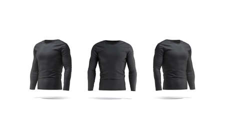 Blank black longsleeve t-shirt mock up, front and side view