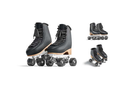 Blank black roller skates with wheels mockup pair, different views