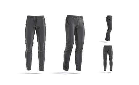 Blank black sport pants mockup, different views