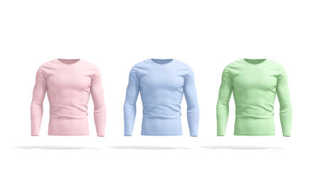 Blank colored longsleeve t-shirt mockup set, front view