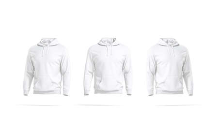Blank white hoodie with hood mockup, front and side view