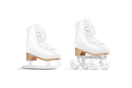 Blank white ice and roller skates mockup, half-turned view