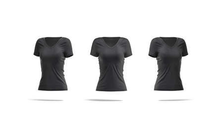 Blank black women slimfit t-shirt mockup, front and side view 版權商用圖片