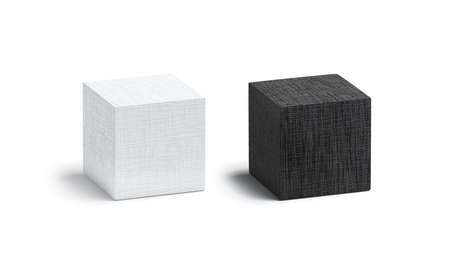 Blank canvas black and white cube mock up set