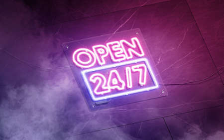 Neon open 24-7 sign dark marble wall, glowing font mockup
